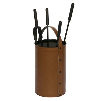 Brown leather accessory holder – round with 4 tools