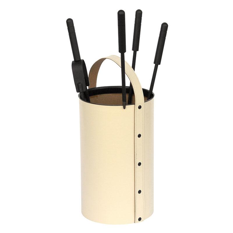 Porta-attrezzi tondo in ECO PELLE panna, 4 accessori
